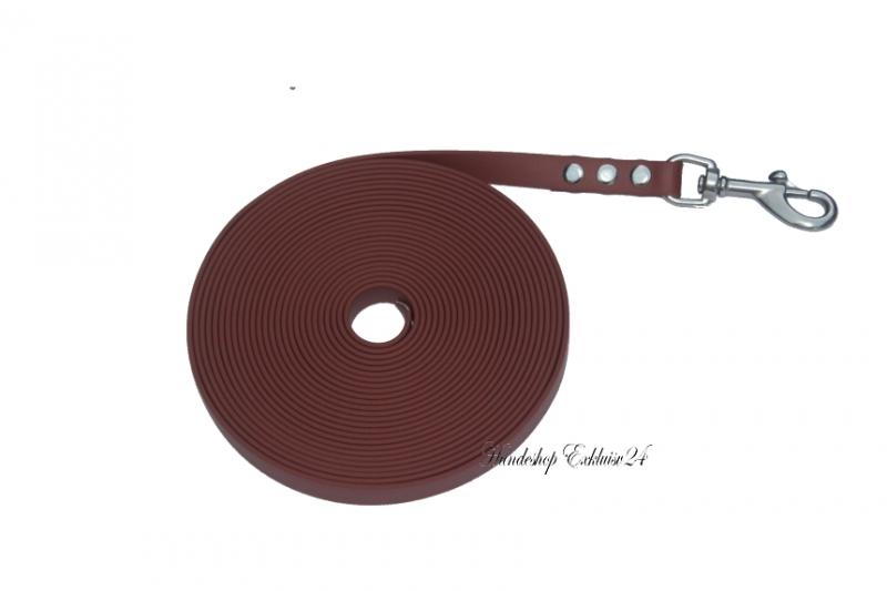 Biothane Schleppleine, rotbraun, 16mm breit